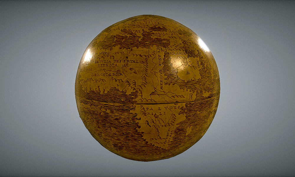image of a small globe, showing details of a view of Africa.