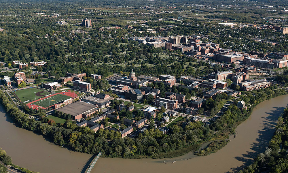 Aerial image of University of Rochester's River Campus.