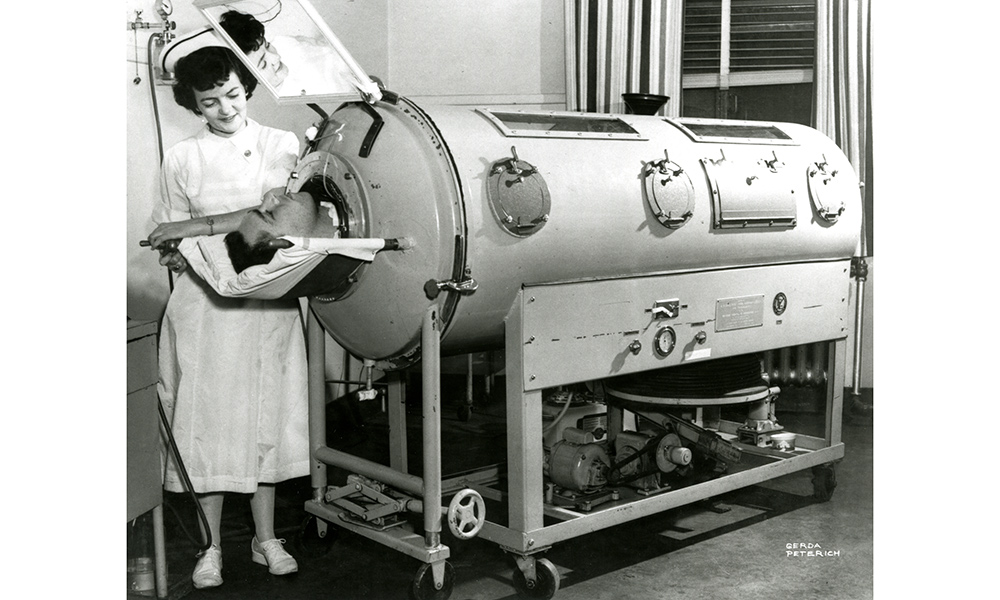 image of University of Rochester nurse with iron lung patient
