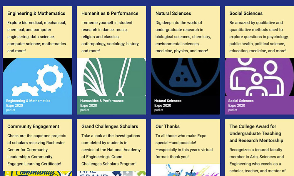 Computer screen showing a collection of poster thumbnails in categories for engineering and math, humanities and performance, natural sciences, social sciences, community engagement.