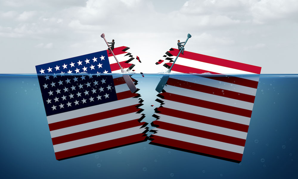 Illustration of American flag being torn in two.