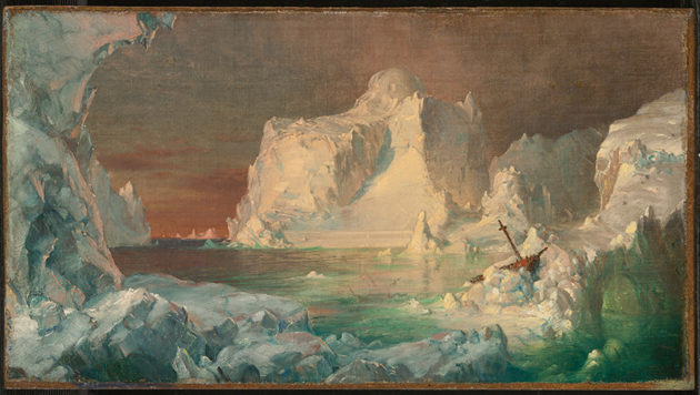 Iceberg ascending from a sunlight sea, with ship wreckage in lower right corner.