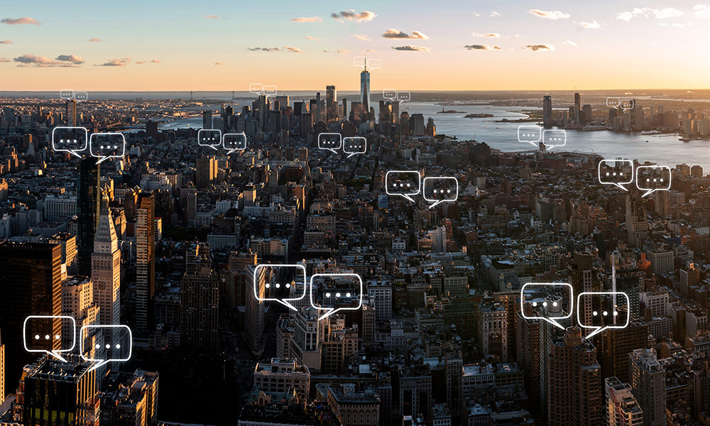 social media bubbles over Manhattan