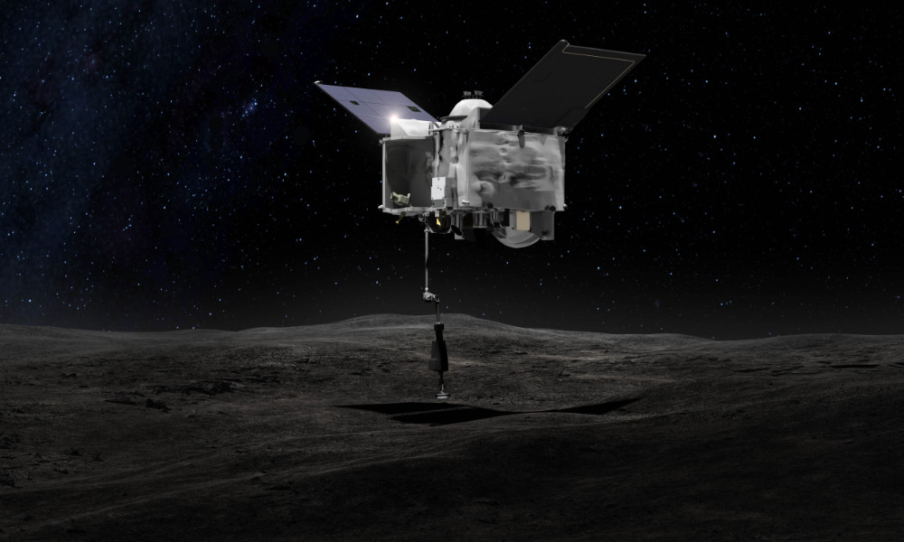 Illustration of OSIRIS-REx collecting samples on an asteroid surface.