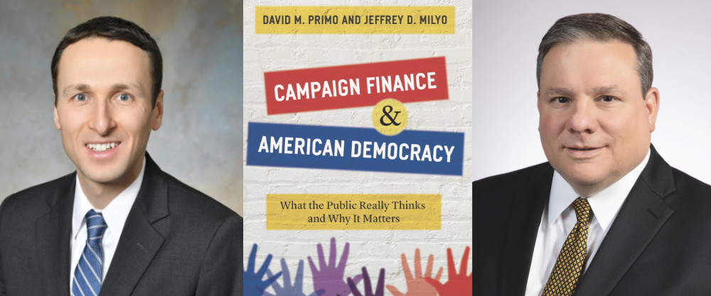 """Triptych of David Primo portrait, close-up of the """"Campaign Finance and American Democracy"""" book cover, and Jeffrey Milyo portrait."""
