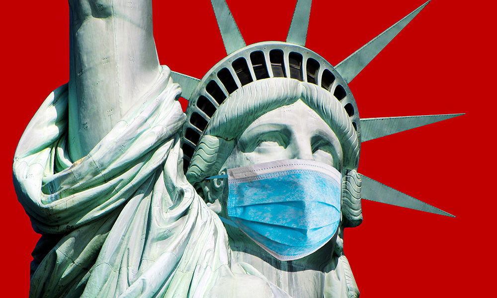 illustration of Statue of Liberty with mask
