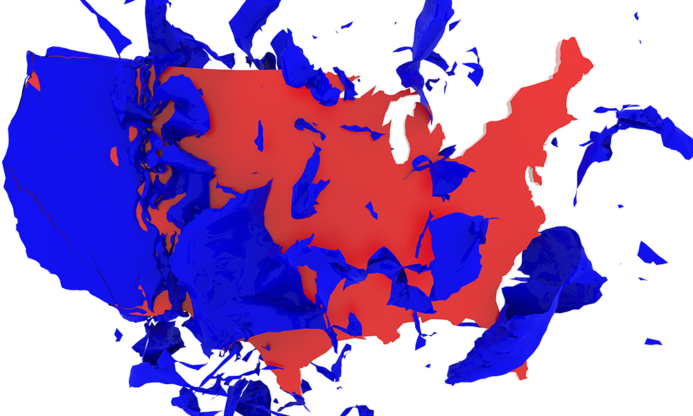 US map splattered with red and blue paint.