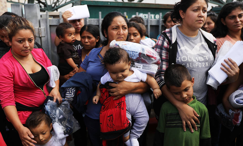 Central American migrant women and children after being released from US Customs and Border protection.