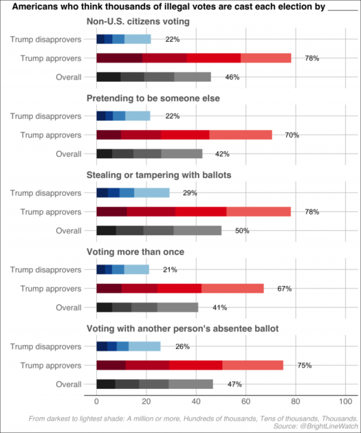 Bar graphs shows Trumps supporters and opposers beliefs about illegal voting in 2020 election.