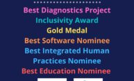 Graphic list of accolades garnered by the 2020 Rochester iGEM team, plus logos for the team and the competition.
