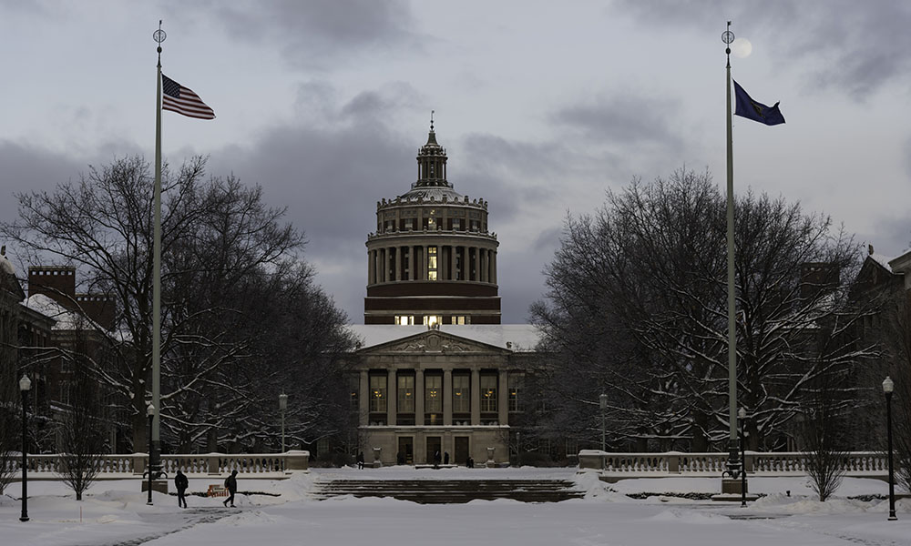 Rush Rhees Library in the snow