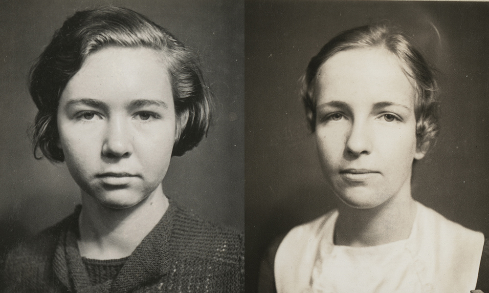old yearbook photos of two young women
