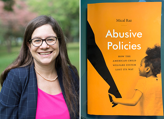 """portrait of Mical Raz next to a photo of the cover of her book """"Abusive Policies"""""""