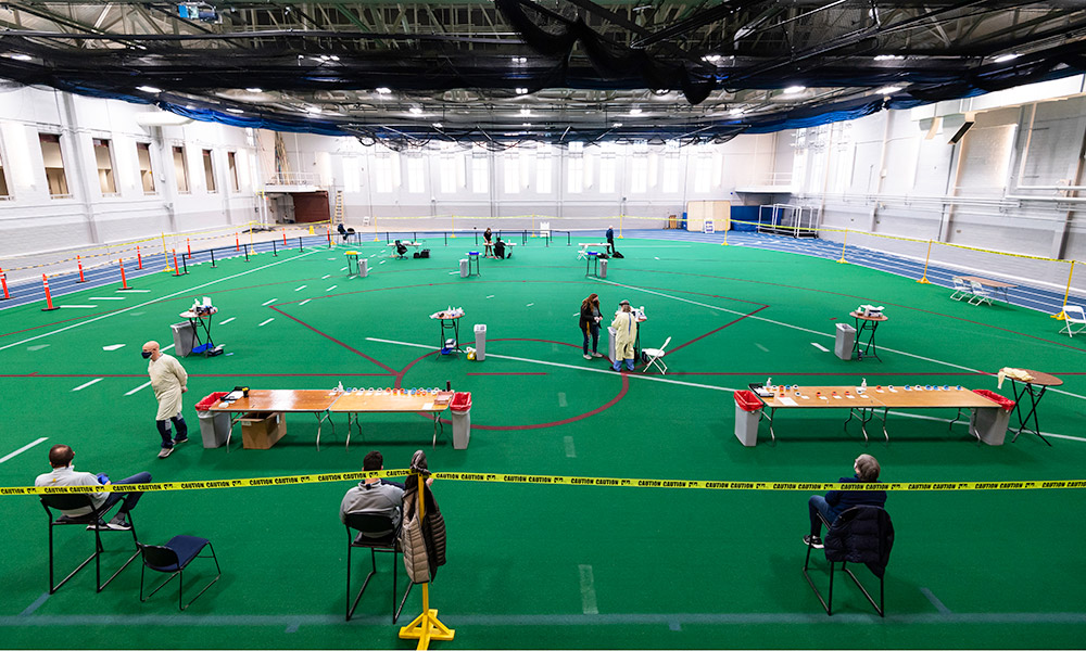 photo of the field house in the GAC set up for rapid covid testing