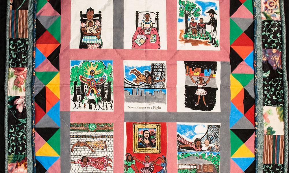 Nine squares of patchwork quilt.