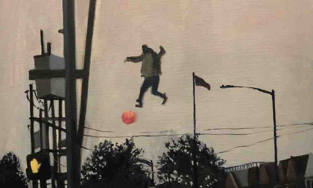 Closeup of neutral-toned painting showing a human figure suspended midair near telephone poles and wires with a red celestial body near his feet in the sky.