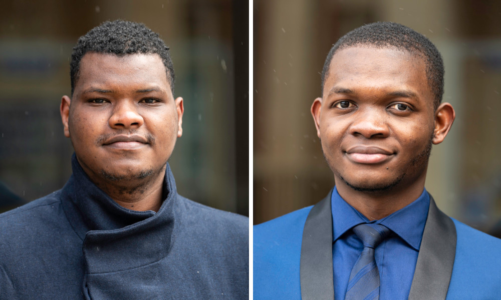 Two side-by-side portraits, one of Mohammed Bah, the other of Miguel Yakouma outdoors.