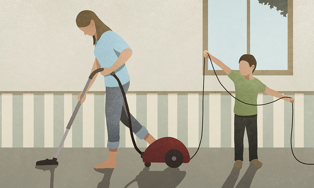 Illustration of woman vacuuming and child.
