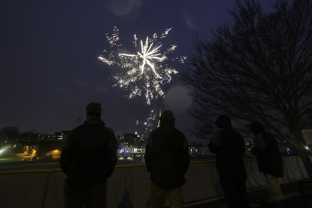 students lined up to watch fireworks