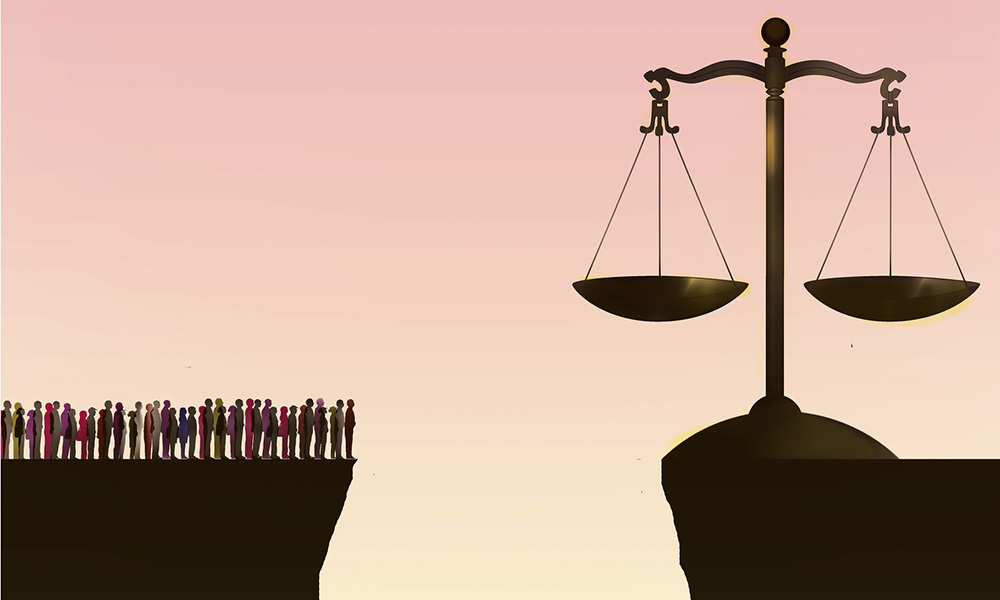 illustration of group of people separated from the scales of justice