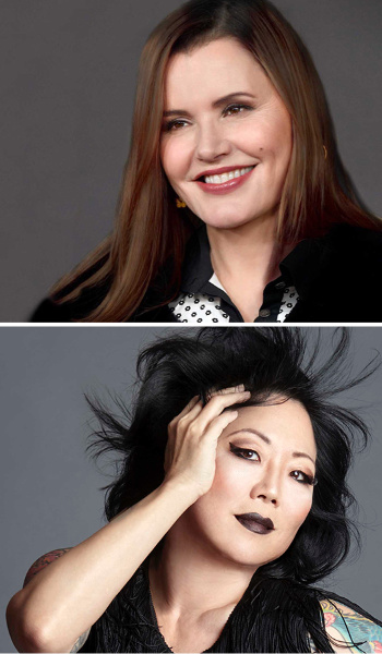 Stacked headshots of Geena Davis and Margaret Cho..