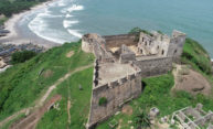 Aerial view of Fort Amsterdam on the coast of Ghana.