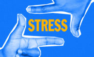 Good stress response with fingers framing the word stress.
