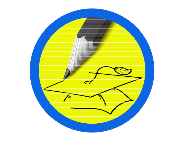 Pencil drawing graduation cap to illustrate choosing college application essay topic.