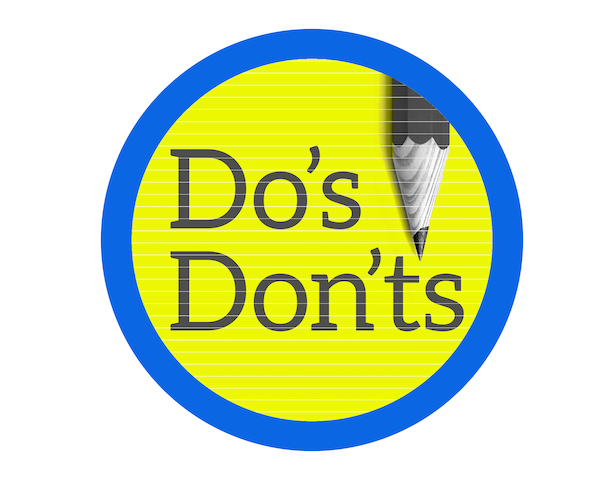 Pencil with text 'do's and don'ts' to illustrate tips on writing college application essay.