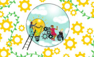 Illustration of yellow gears and green vines around a circle that includes a person on a ladder, a lightbulb, and a person in a wheelchair high-living another person.