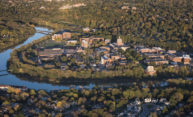 Aerial view of the River Campus and the Genesee River.