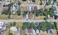 Aerial view of a Rochester, NY, neighborhood.