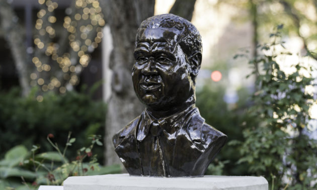 Bust of William Warfield outside in downtown Rochester, New York.