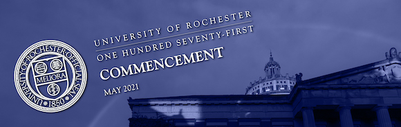 commencement text over photo of Rush Rhees Library tower