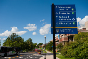 New wayfinder signs adorn the University of Rochester River Campus August 22, 2011.  //photo:  J. Adam Fenster/University of Rochester