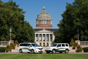 University of Rochester Parking and Transportation Services vehicles are parked in front of Rush Rhees Library September 17, 2015. // photo by J. Adam Fenster / University of Rochester
