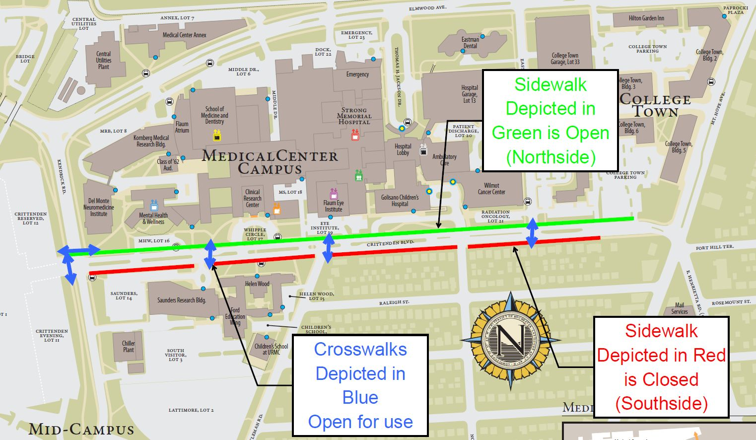 Crittenden Blvd. Construction Resumes April 4; South Sidewalk to Close