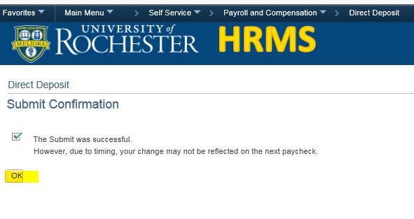 screenshot of direct deposit enrollment - submit confirmation