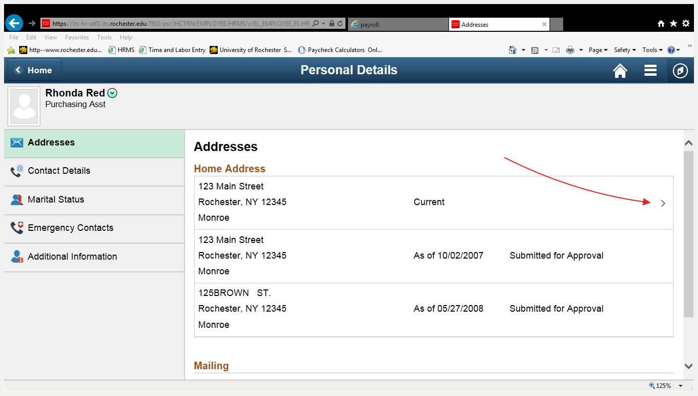 screenshot of address update page, showing selection point