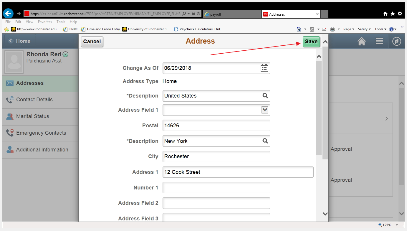 screenshot of address update page, indicating Save button