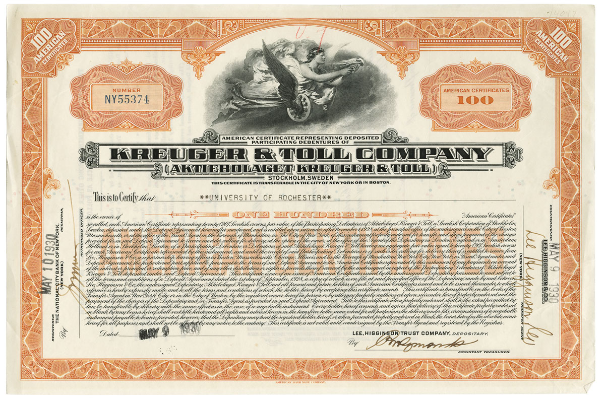 archival photo of a stock certificate
