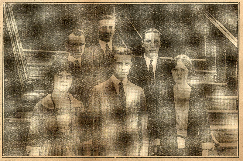 archival newspaper photo of a group of students