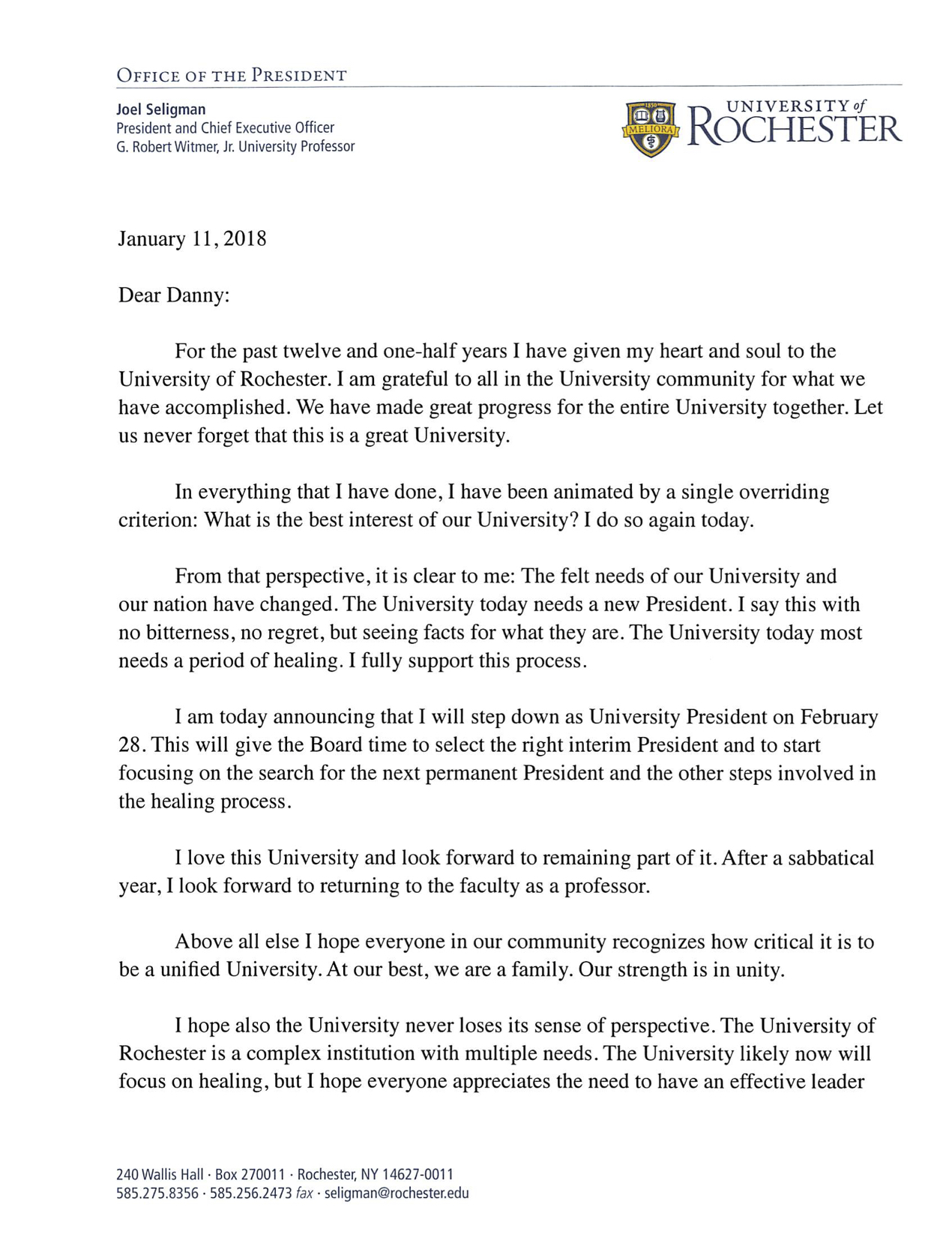 Letter from Joel Seligman, President and CEO, University of Rochester