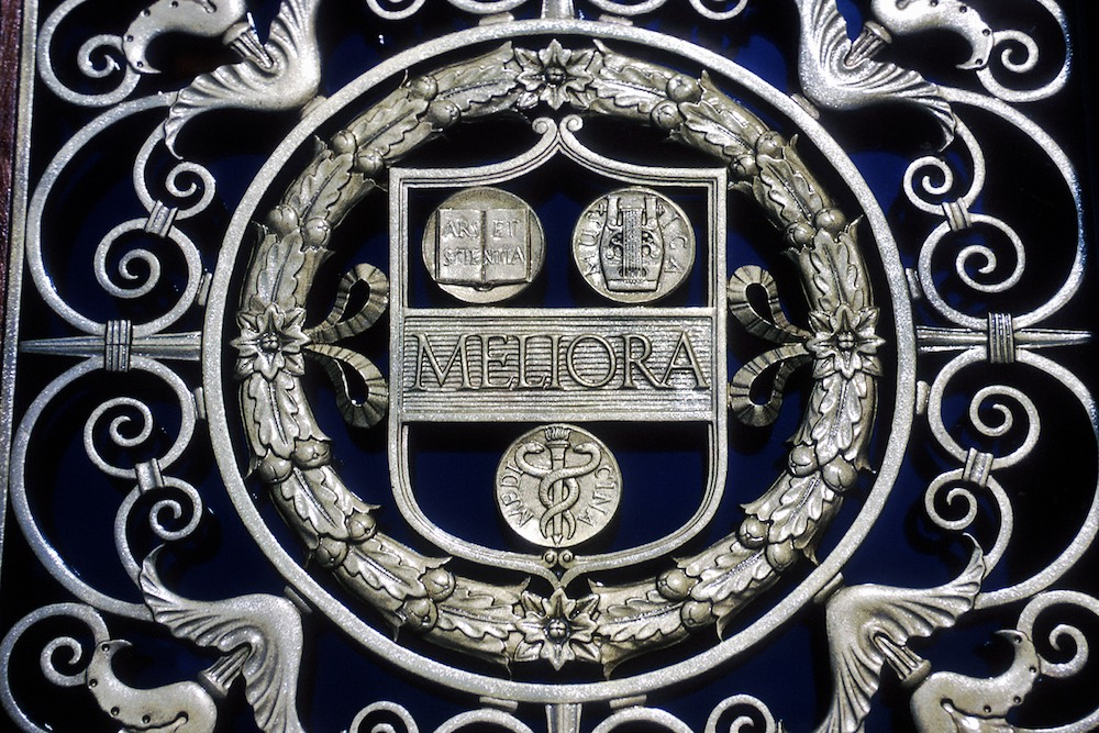 architectural detail of university shield