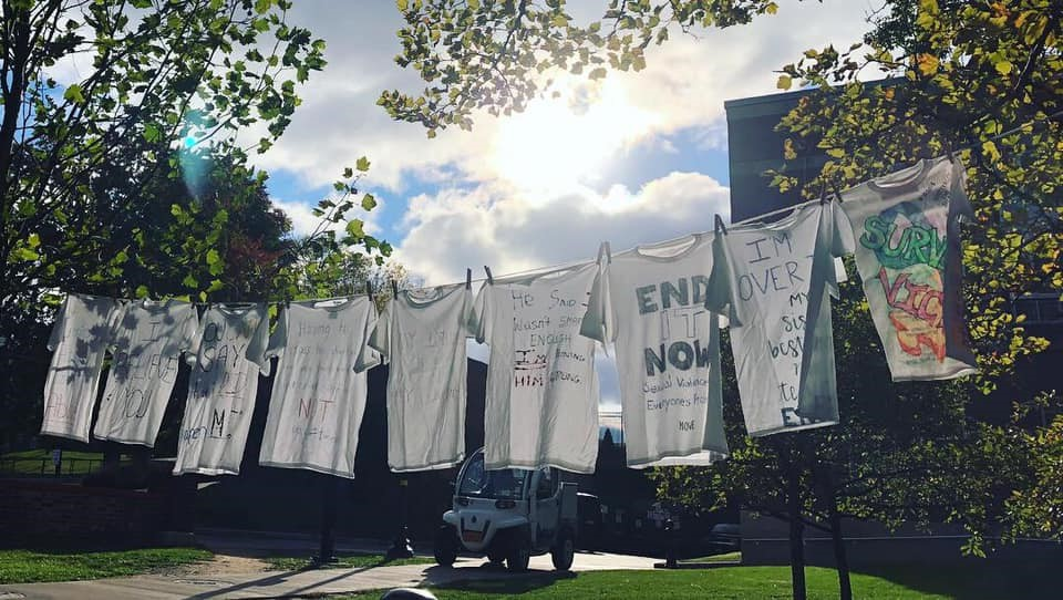T-shirts designed in support of sexual assault survivors are displayed outside of the Goergen Athletic Center