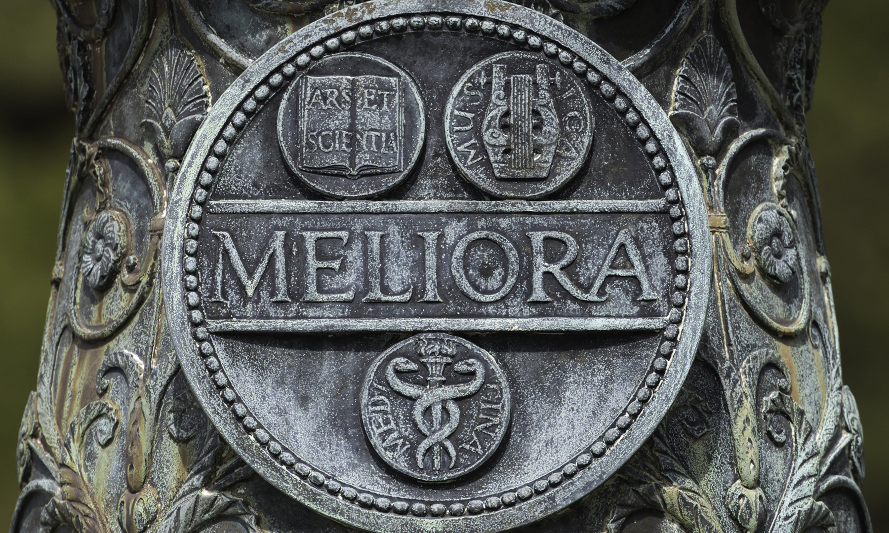 Meliora flagpole seal on River Campus