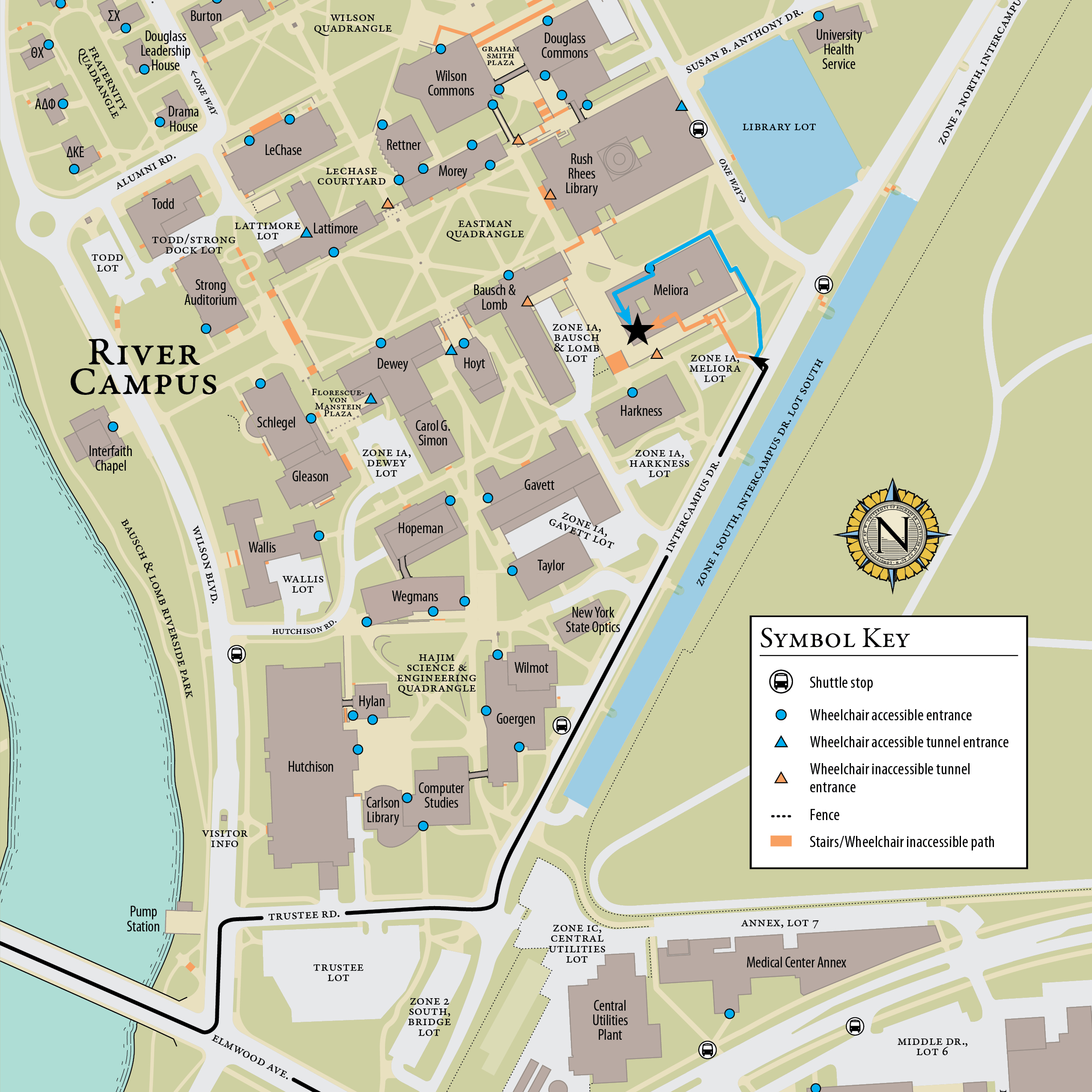 U Of R Campus Map Contact | The Susan B. Anthony Center