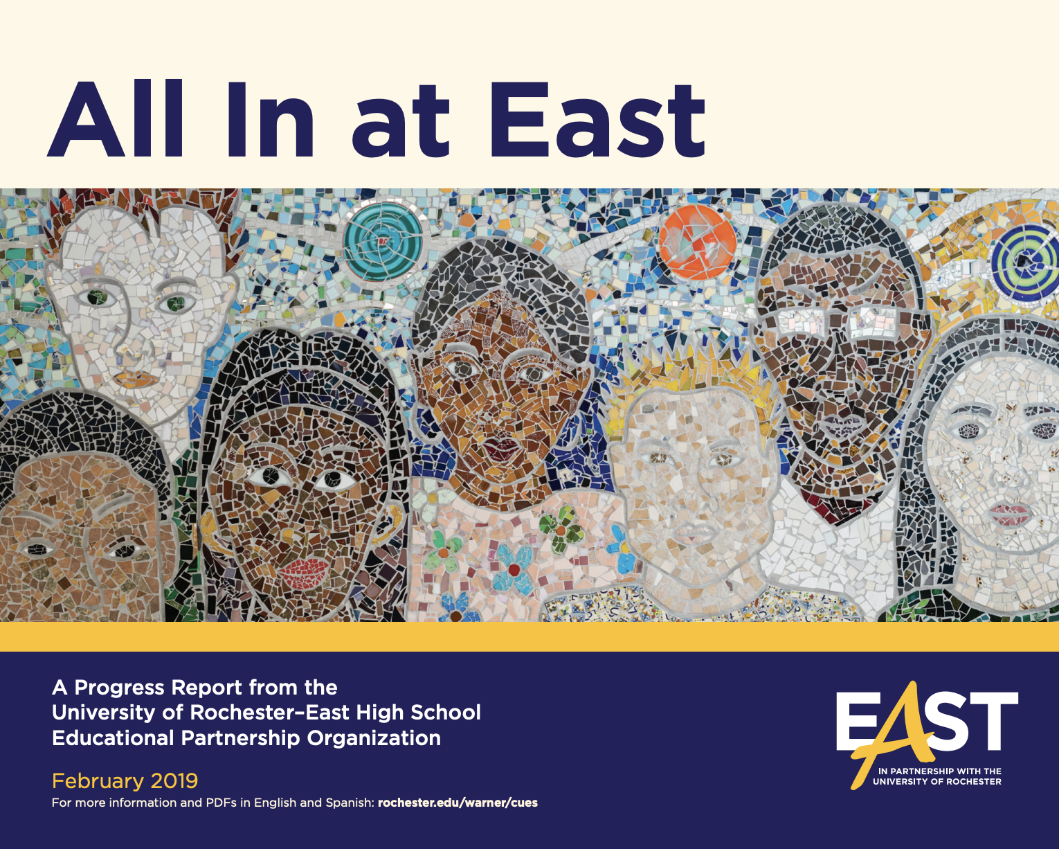 Cover of East EOP Three-Year Report featuring mural of multicultural faces