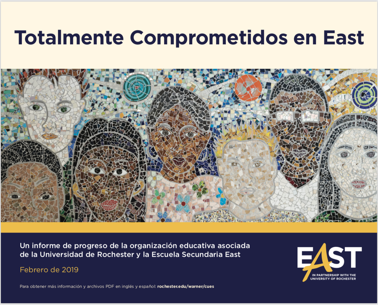 Cover of SPANISH East EOP Three-Year Report featuring mural of multicultural faces