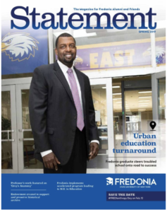Cover of SUNY Fredonia magazine with cover featuring Superintendent Shaun Nelms